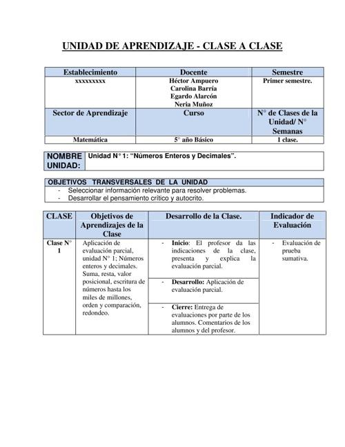 Evaluación Parcial 5° Básico, Eje Números y Operaciones.