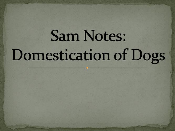 Sam Notes