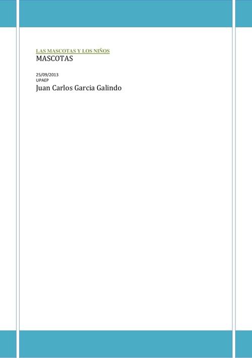 LAS MASCOTAS Y LOS NIÑOS Juan Carlos Garcia Galindo