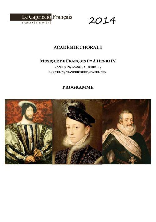 Programme Academie Chorale