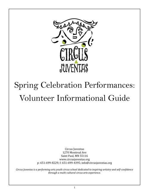 Spring Show Volunteer Informational Guide 2018