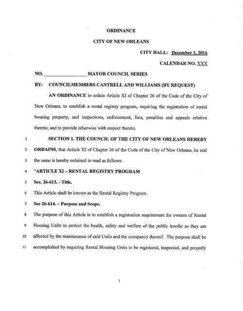 Orleans Parish Rental Registry Ordinance Proposal