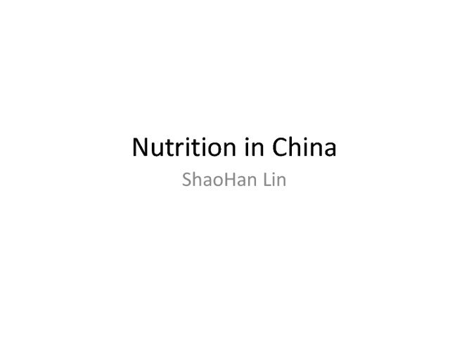 Chinese Nutrition