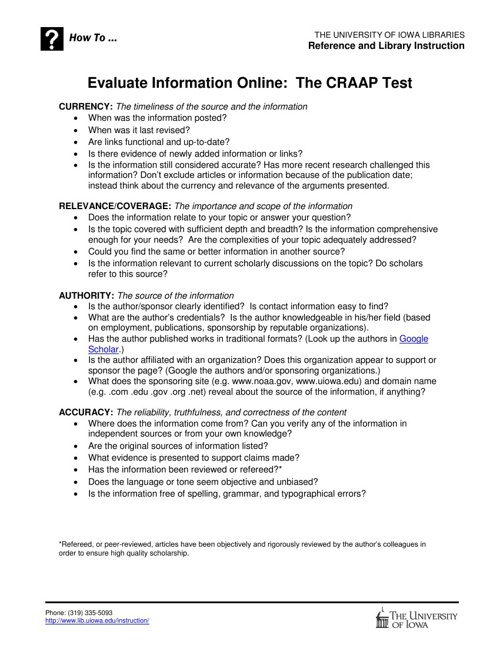 CRAAP Test from Univ. of IA Libraries