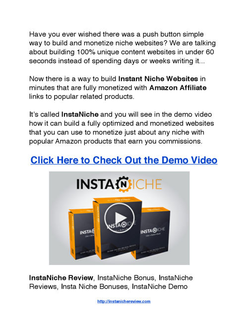 InstaNiche Review with Special Bonus