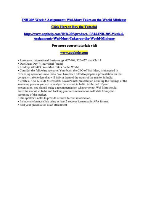 INB 205 Week 6 Assignment