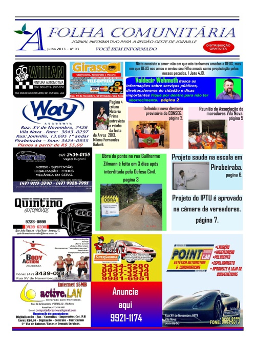 edição 03 julho de 2013 jornal A Folha Comunitária