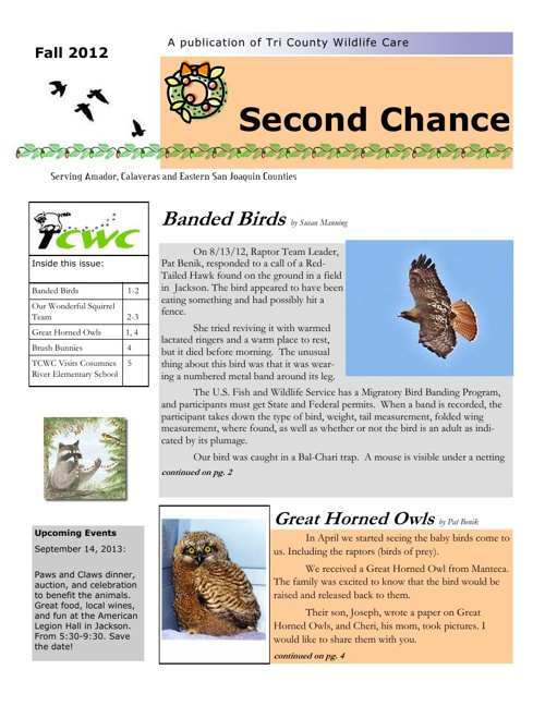 TCWC Newsletter Fall 2012