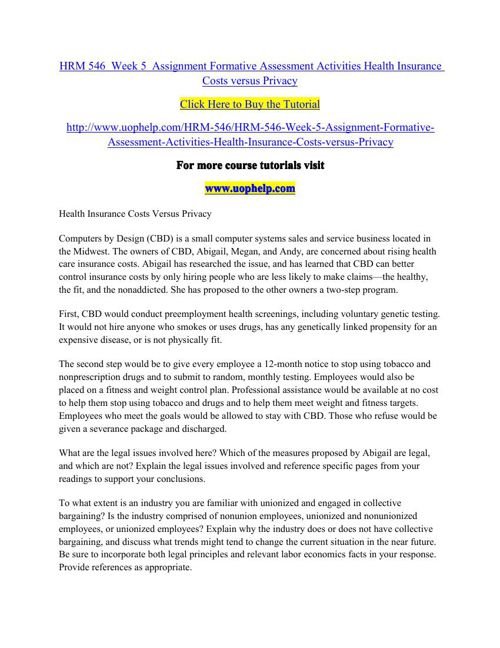 HRM 546  Week 5  Assignment Formative Assessment Activities Heal