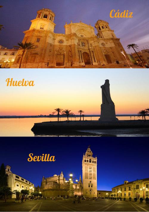 Cádiz, Huelva y Sevilla, 5 lugares que visitar en cada una.