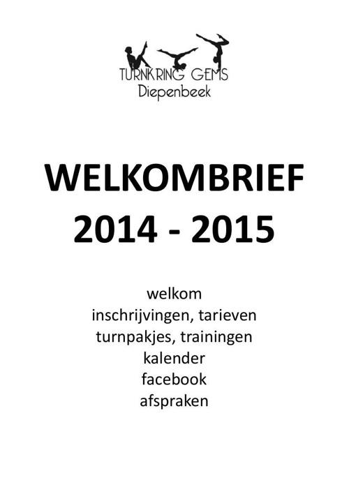 Turnkring Gems Diepenbeek: Welkombrief 2014 - 2015