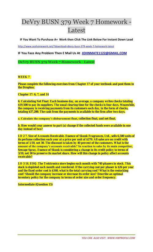 DeVry BUSN 379 Week 7 Homework - Latest
