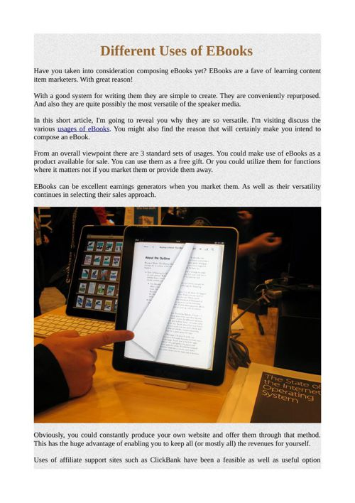 Different Uses of EBooks