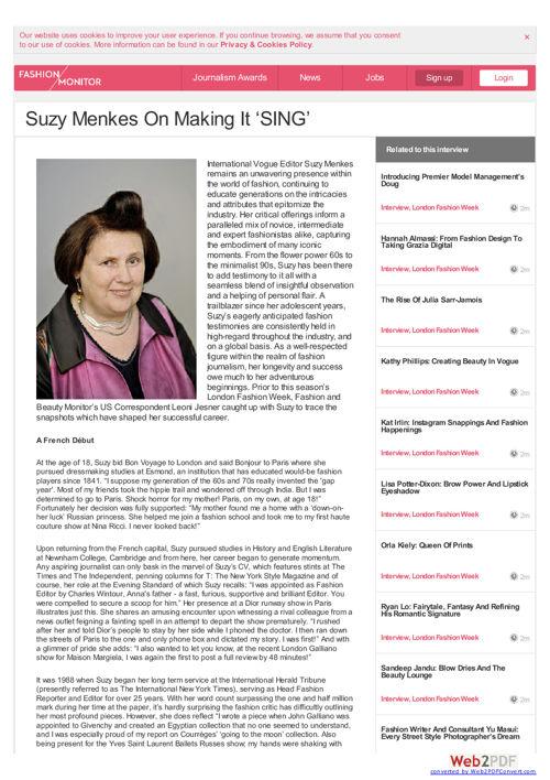 Suzy Menkes - Making It Sing