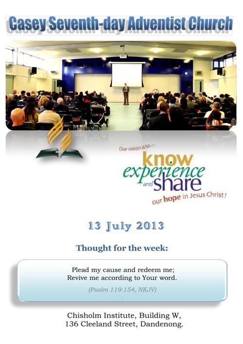 Bulletin 13 July 2013