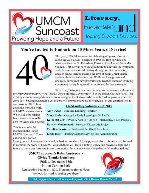 UMCM Suncoast Newsletter - October 2015