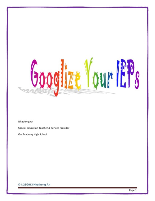 Googlize Your IEPs