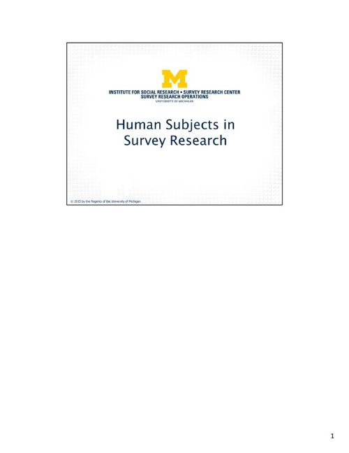 Microsoft PowerPoint - Human Subjects Training PPupdated 4_23_20