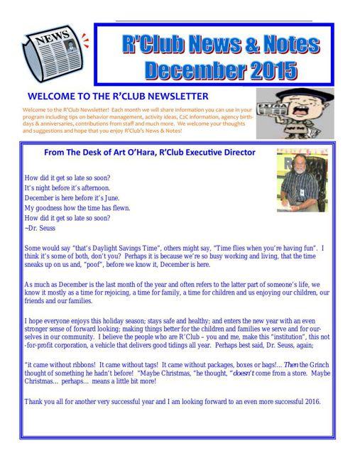 R'Club December 2015 Newsletter