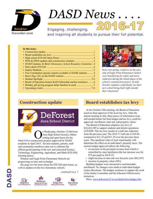 DASD News, November 2016