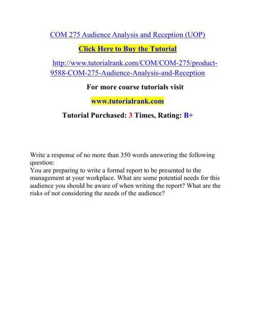 COM 275 Potential Instructors/tutorialrank