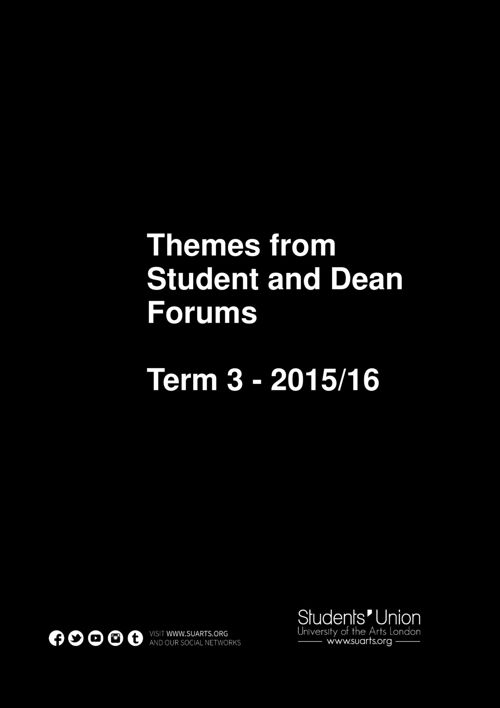 Student and Dean Forums Term 3 2016