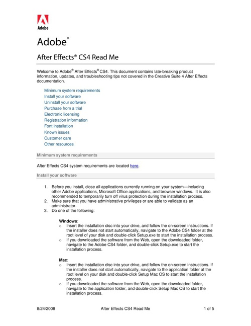 Adobe After Effects CS4 Read Me