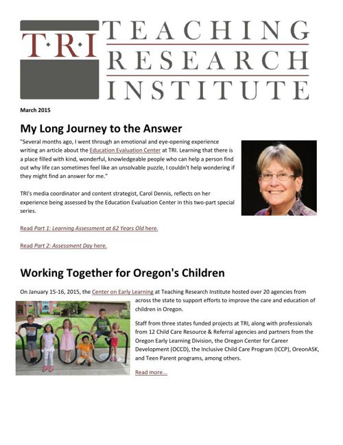 Teaching Research Institute: March 2015 Newsletter