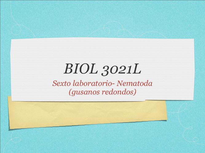 BIOL 3021 sexto laboratorio