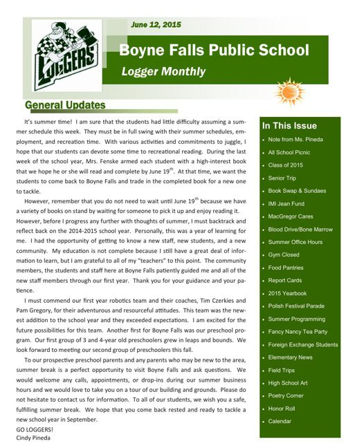 June 11, 2015 Logger Monthly