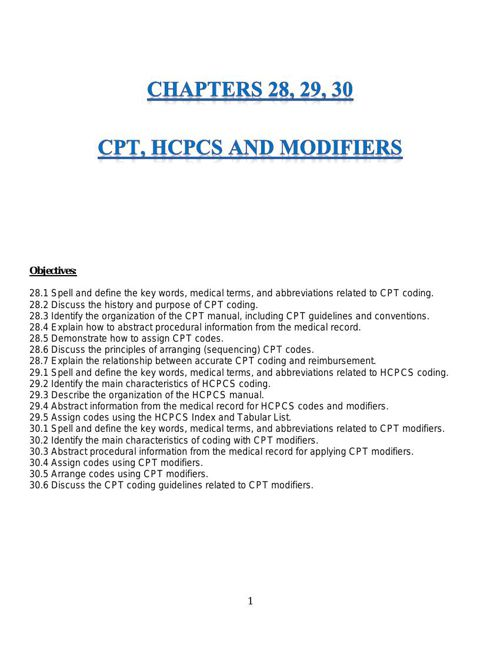 CPT, HCPCS and Modifiers