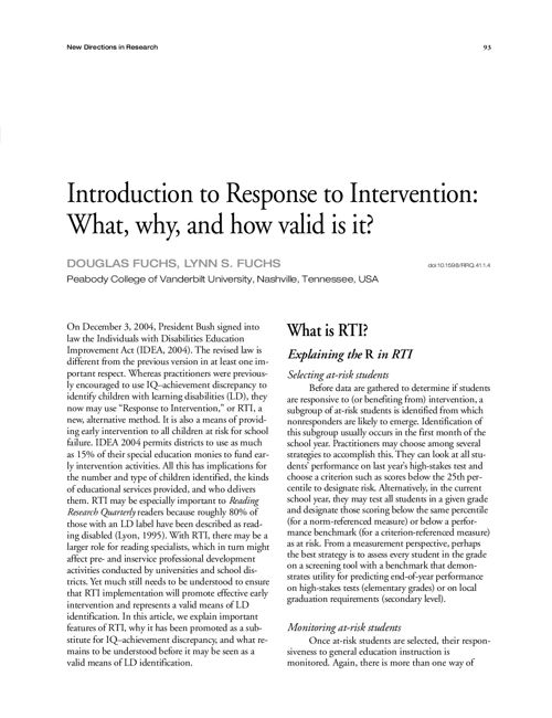 response to intervention article - fuchs