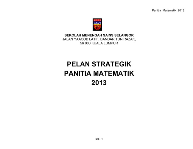 PELAN STRATEGIK PANITIA