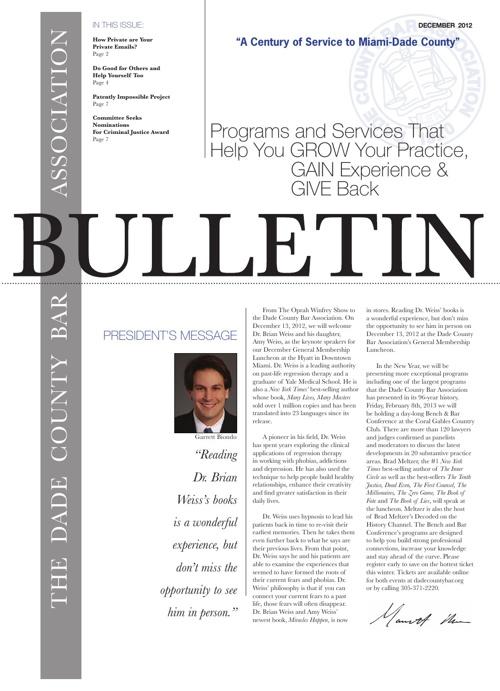 December 2012 Bulletin