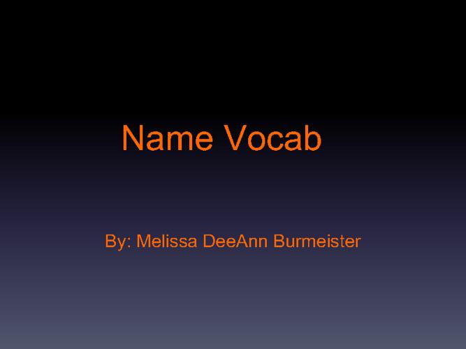 Melissa Vocab