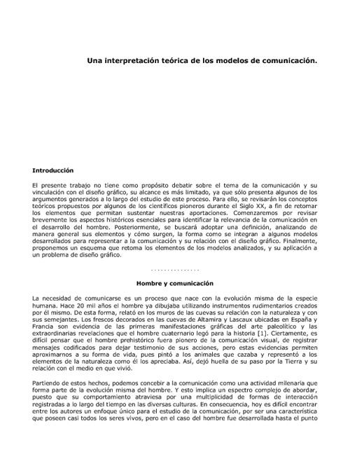 Una Interpretación Teórica de los Modelos de Comunicación .