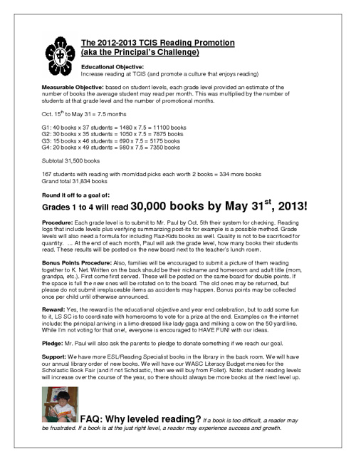 TCIS' Reading Challenge!