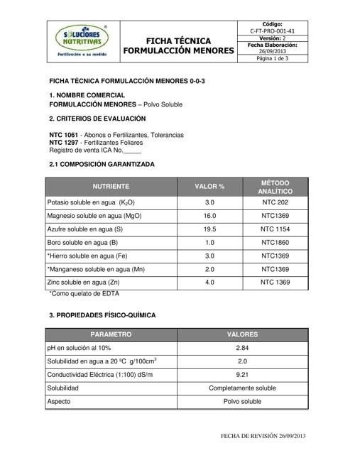 FORMULACCION MENORES - Ficha Tecnica