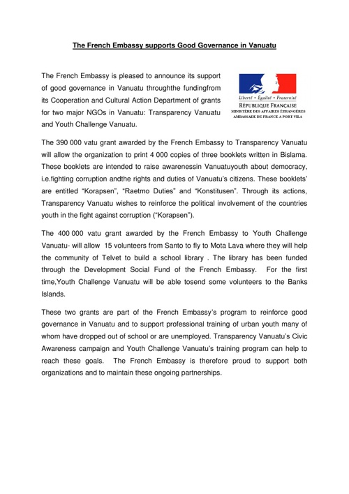 The French Embassy supports Good Governance in Vanuatu