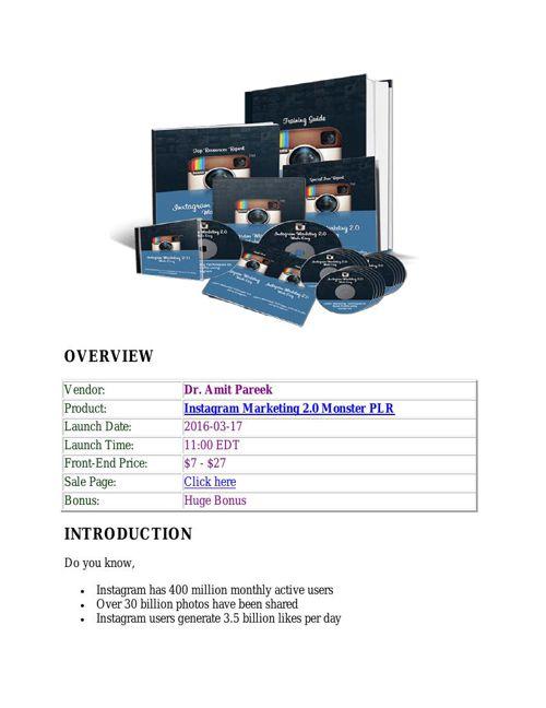 INSTAGRAM MARKETING 2.0 BIZ IN A BOX re