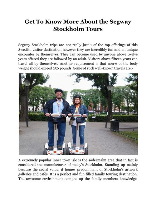 Get To Know More About the Segway Stockholm Tours