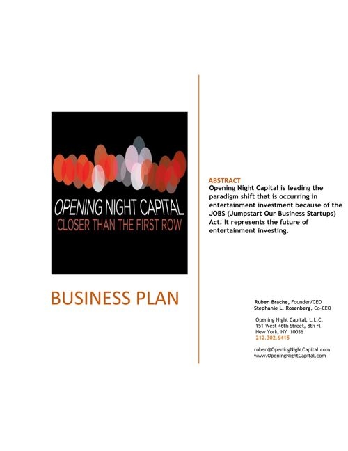 Executive Summary -- Opening Night Capital LLC