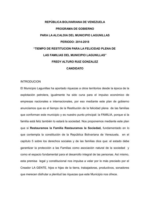 PROGRAMA DE GOBIERNO / NUVIPA LAGUNILLAS
