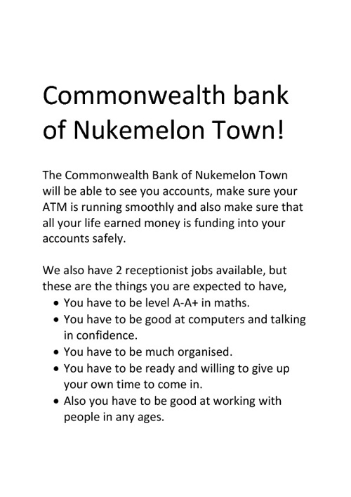 The Commonwealth Bank of Nukemelon.