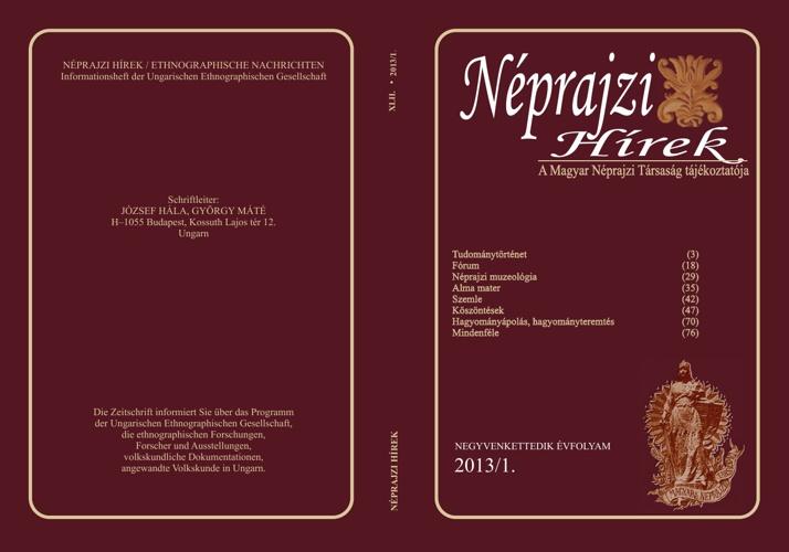 Néprajzi Hírek 2013/1. szám