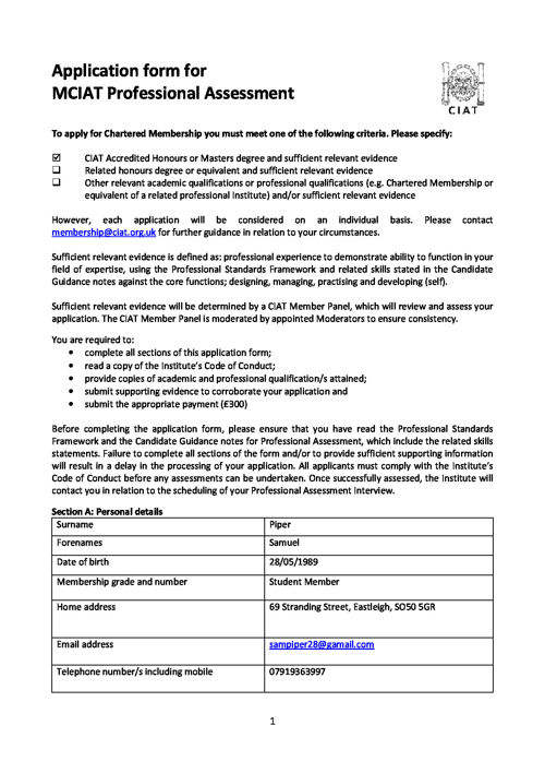 MCIAT Professional Assessment Application Form_Sam Piper_2016-05