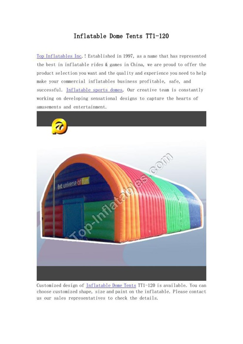 Inflatable Dome Tents TT1-120
