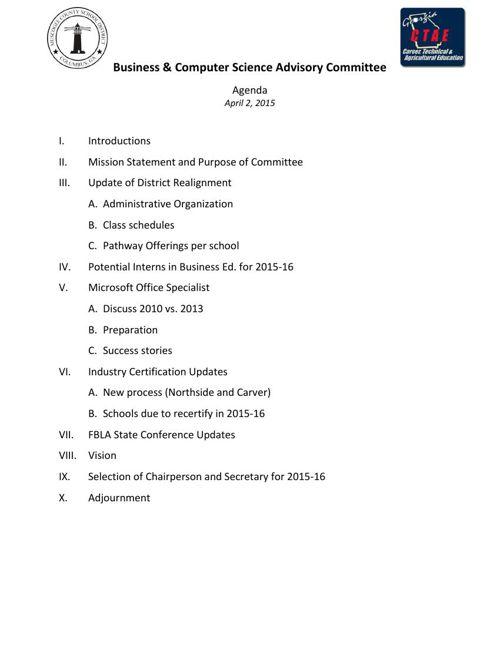 Advisory Agenda-4-02-15
