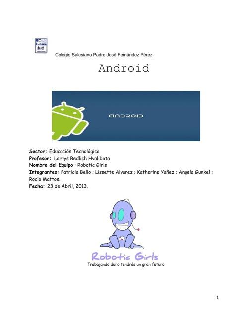 2013 8D Robotic Girls 10 Investigación Android