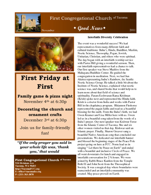 November 2011 Good News Newsletter